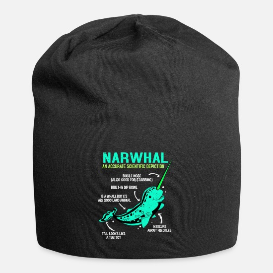 Marine Animal Caps & Hats - narwhal - Beanie black