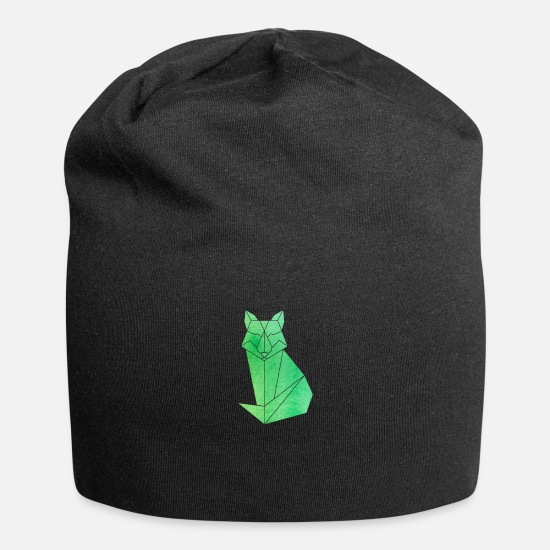 Forest Animal Caps & Hats - Fox origami forest animal animal forest green fox Fox - Beanie black