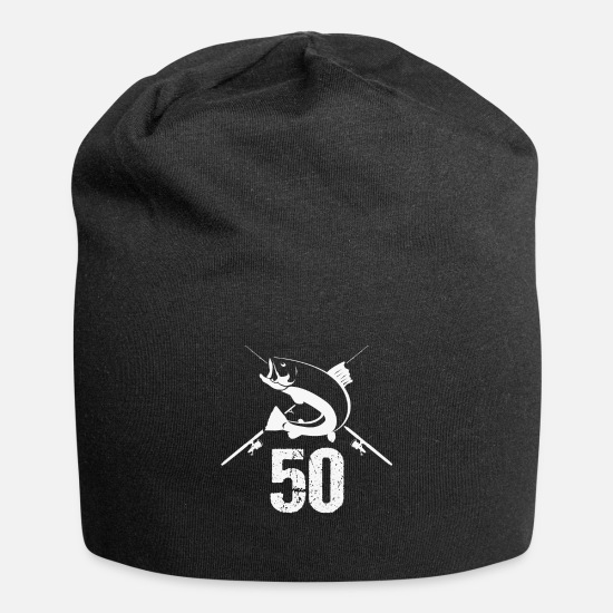 Birthday Caps & Hats - 50th fiftieth birthday angler fishing gift - Beanie black