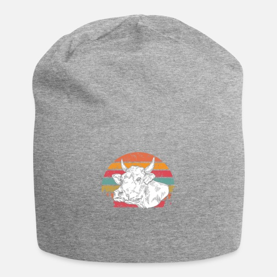 Muh Caps & Hats - Vintage cow head - Beanie heather grey