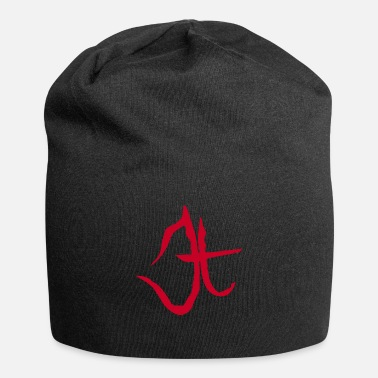The Juggernaut in Japanese Red | Black Zodiac Sign - Beanie