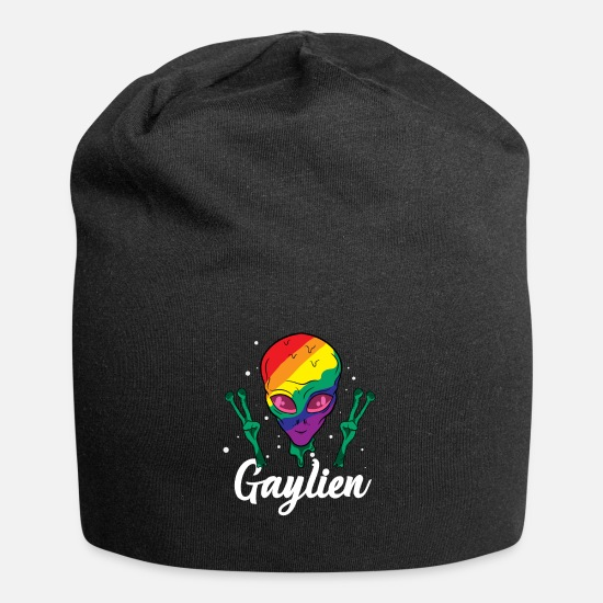 Birthday Caps & Hats - Gaylien Gay Alien Rainbow LGBT Flag Heart Lesbian - Beanie black