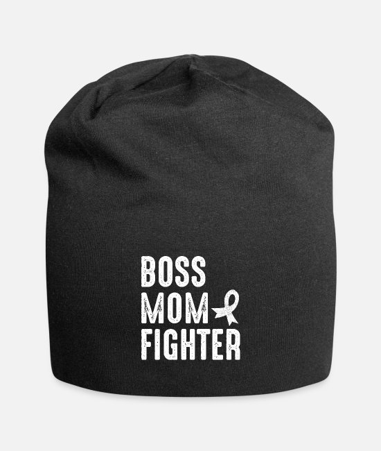 Fighter Caps & Hats - Boss Mom Grandma Fighter Cancer Gift - Beanie black