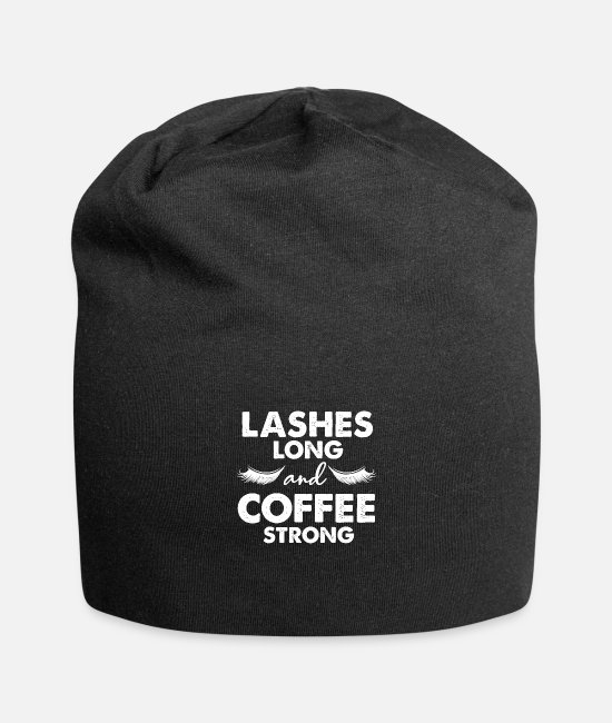 Beauty Therapist Caps & Hats - Cosmetic coffee eyelash beautician gift - Beanie black
