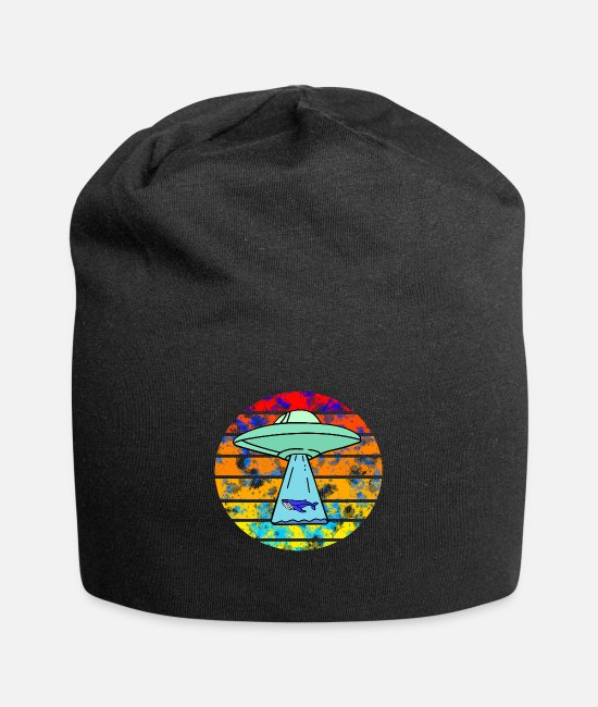 Sunset Caps & Hats - Ufo whale sunset - Beanie black