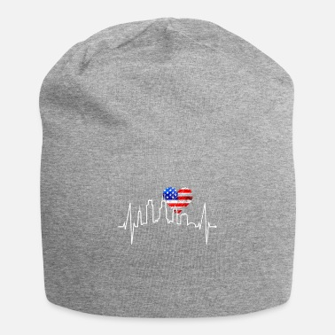 Illinois Chicago Skyline Heartbeat USA Heart Flag Love - Beanie
