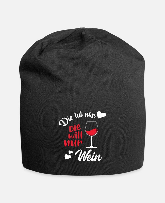 Prosecco Caps & Hats - She doesn't do anything she only wants a Weinlieber gift - Beanie black