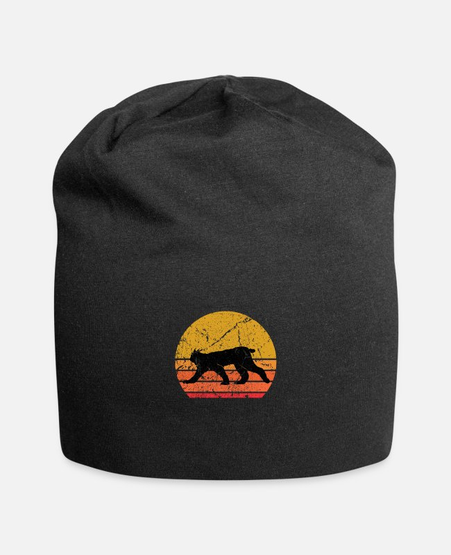 Wild Cat Caps & Hats - Retro Sun Lynx Animal Gift - Beanie black