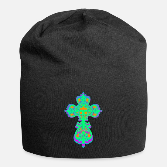 Gift Idea Caps & Hats - Cross crosses jesus god church religion - Beanie black