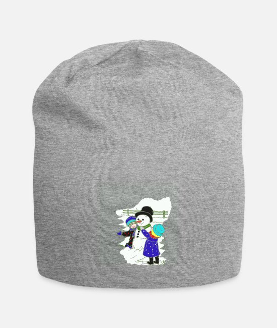 Snowball Caps & Hats - Snowman with cylinder and girl - Beanie heather grey