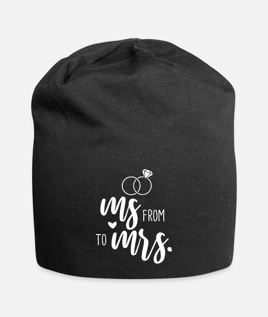 Gold Caps & Hats - Wedding Bachelorette Party - From Ms. to Mrs. - Beanie black