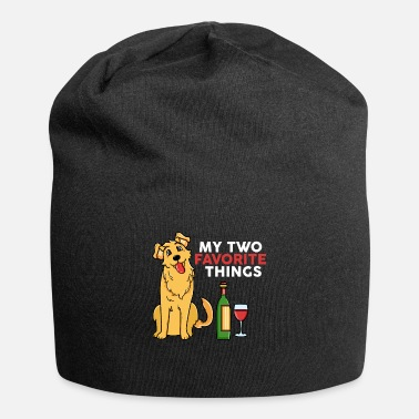 Golden Retriever My Two Favorite Things Golden Retriever Wine - Beanie