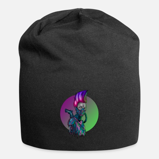 Idea Caps & Hats - Cyborg Girl Robotics Robot Cybernetic Android Gift - Beanie black
