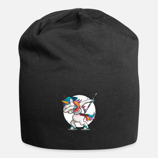 Birthday Caps & Hats - Dab Curling Unicorn Curling Ice Sports Gift - Beanie black