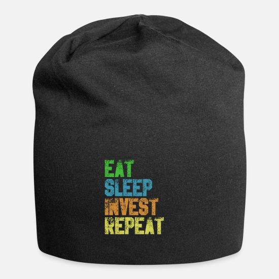 Income Caps & Hats - Eat Sleep Invest Repeat Money Stocks Investor Gift - Beanie black