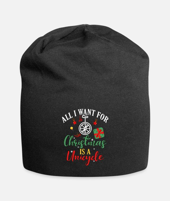 Happy Holidays Caps & Hats - Unicyclist All I Want for Christmas is a Unicycle - Beanie black