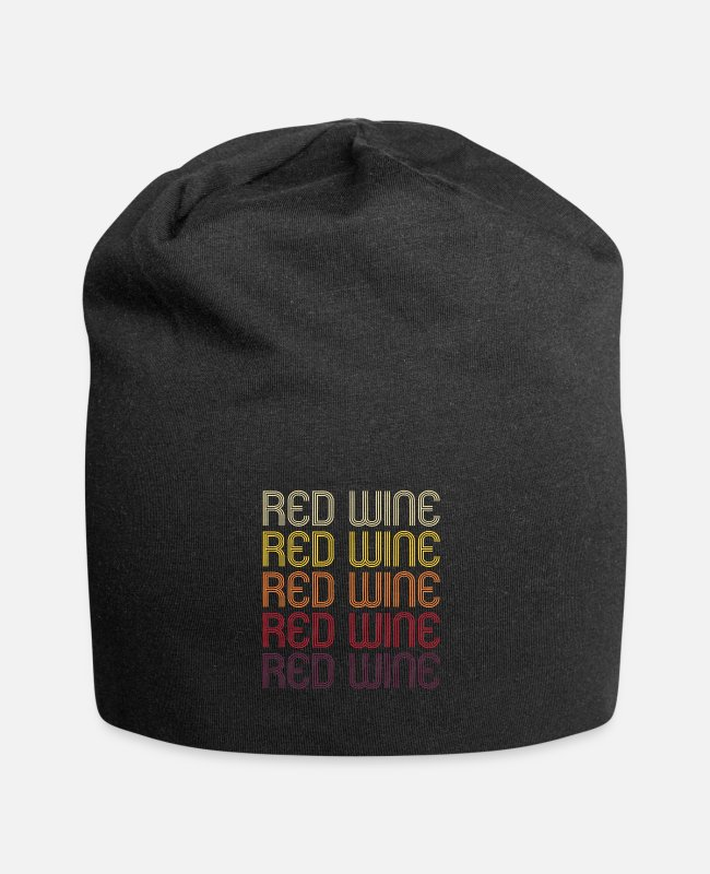 Wine Lover Caps & Hats - Red Wine Retro Wine Alcohol Wine Festival Fun Gift - Beanie black