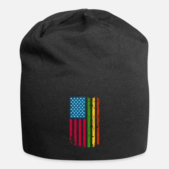 African American Caps & Hats - African American Roots Flag design - Beanie black