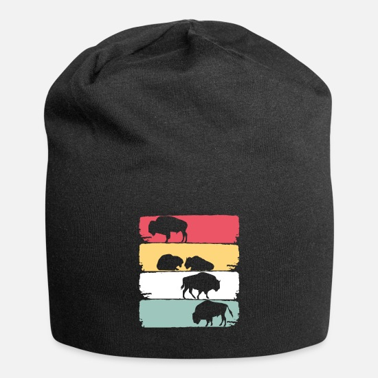Gift Idea Caps & Hats - American bison zoo animal - Beanie black
