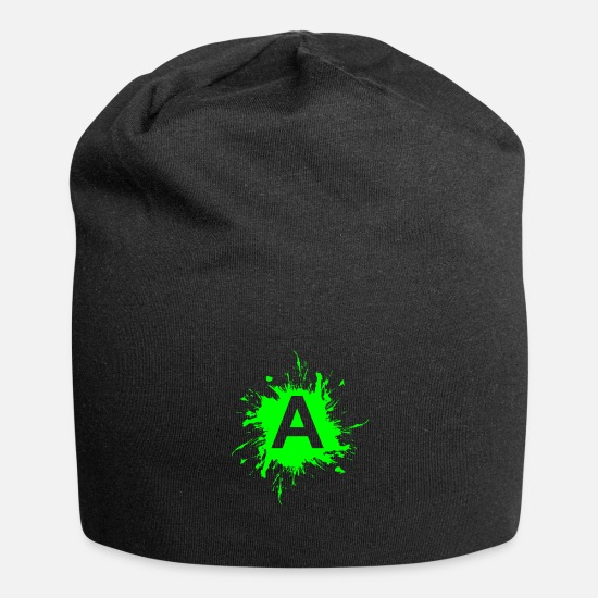 Green Caps & Hats - Team A letter A initial letter - Beanie black