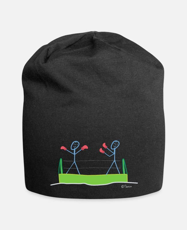 Competition Caps & Hats - Box stick figure sport fight heavyweight - Beanie black