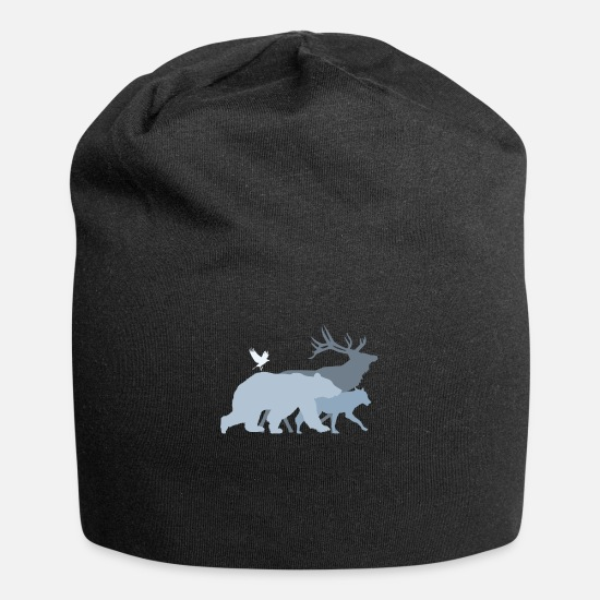 Camping Caps & Hats - Forest animals Gray - Beanie black