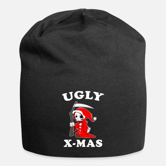 Gift Idea Caps & Hats - Ugly X Mas Christmas Santa Claus Grim Reaper - Beanie black