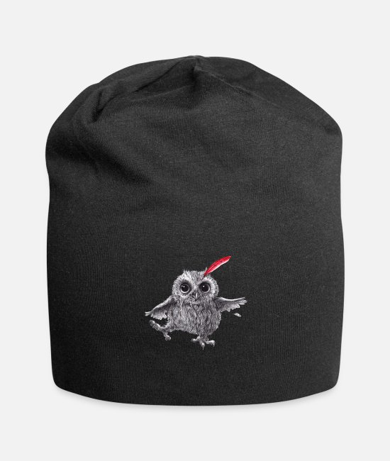 Red Caps & Hats - Chief Red - Happy Owl - Beanie black