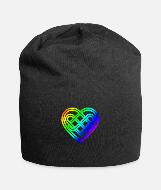Celtic Knot Caps & Hats - Celtic symbol heart rainbow celtic knot - Beanie black