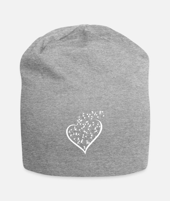 Heart Caps & Hats - Hearts white 3, design, gift, cool, chic, trend, - Beanie heather grey