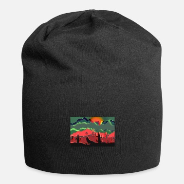 Full Moon Howling wolf, desert, cactus, landscape, abstract - Beanie