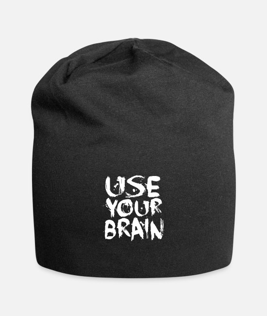 Brain Caps & Hats - Use Your Brain - White - Beanie black