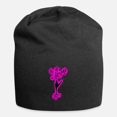 Silhouette tree pink and black outline - Beanie