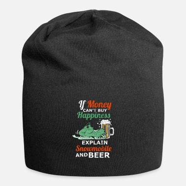 Snowboard Snowmobile And Beer Winter Snowmobiler - Beanie