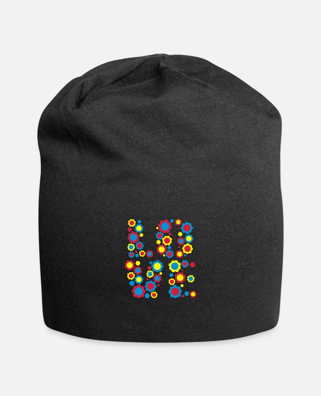 Design Caps & Hats - Flower Love by Cheerful Madness!! - Beanie black