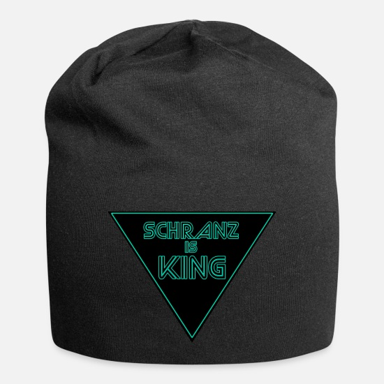 Bass Caps & Hats - Schranz is king Techno Minimal saying Glow effect - Beanie black