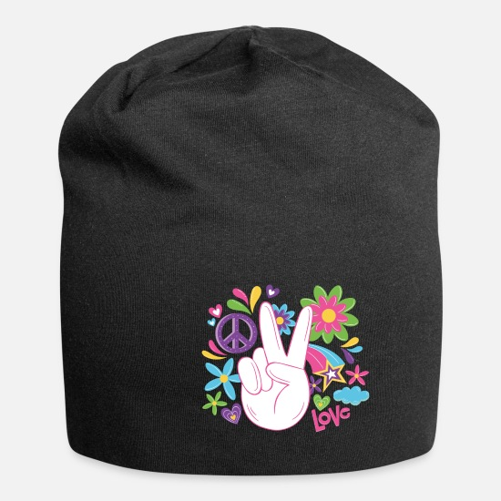 Hippie Cappelli & Berretti - Love World Peace Flower Power 70s Love - Berretto nero