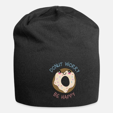 Anniversary Inspirational Funny Pun Donut Worry Be Happy - Beanie