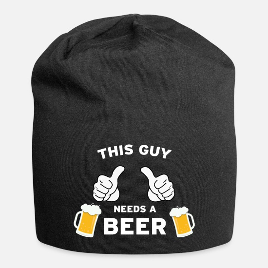I Love Beer Caps & Hats - This guy needs a beer - Beanie black