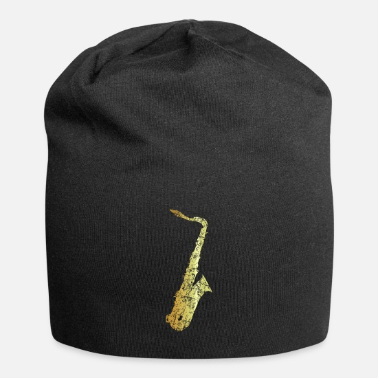 Saxophone Caps & Hats - Tenor Saxophone (Ancient Gold) - Beanie black