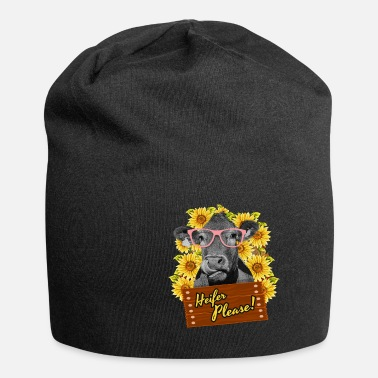 Beef Heifer Please Funny sunflower cow glasses - Beanie