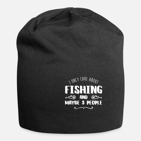 Bass Caps & Hats - I Only Care About Fishing FUNNY T SHIRT - Beanie black