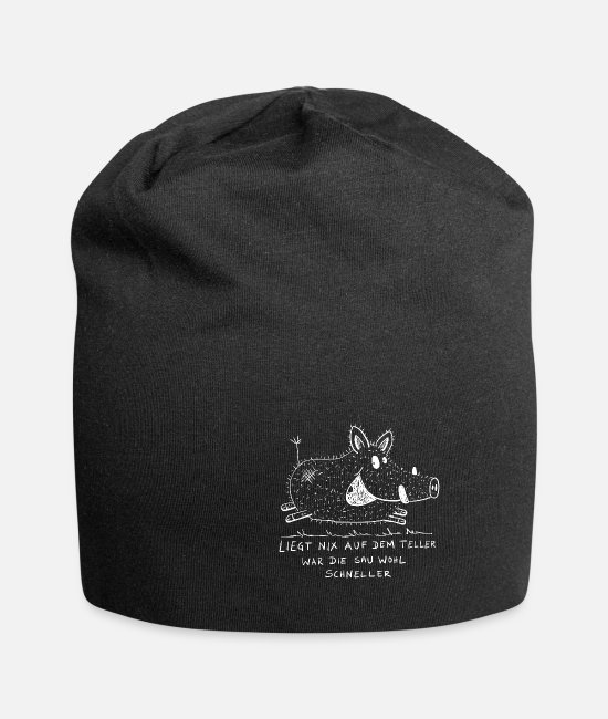 Drawing Caps & Hats - Little boar with saying I hunter - Beanie black