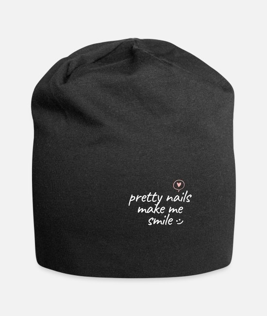 Designer Caps & Hats - pretty nails make me smile - Beanie black