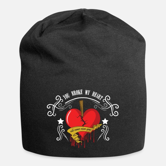 Love Caps & Hats - Heartache heart broken gift lovesickness - Beanie black
