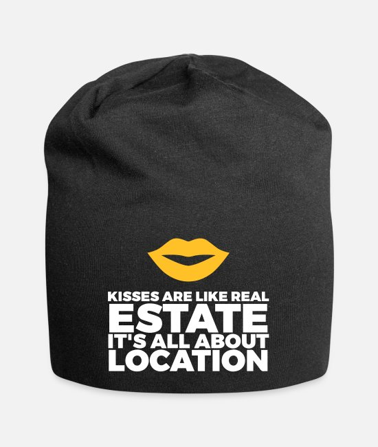Tits Caps & Hats - Kisses Are Like Real Estate. Location, Location, L - Beanie black