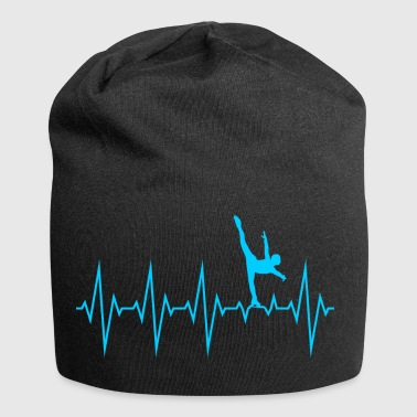 Heartbeat skating line graph pulse - Jersey Beanie