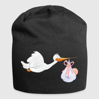 Stork with toddler - Jersey Beanie