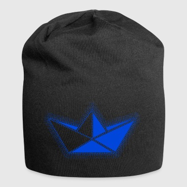 blue origami sailboat. - Jersey Beanie