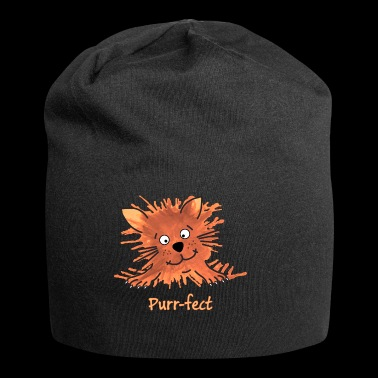 Purrfect Cute Cartoon Ginger Cat - Jersey Beanie